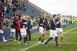 Players come out after the game. <br /> Falkirk 1 v 0 Morton, Scottish Championship game  played 1/5/2016 at The Falkirk Stadium.