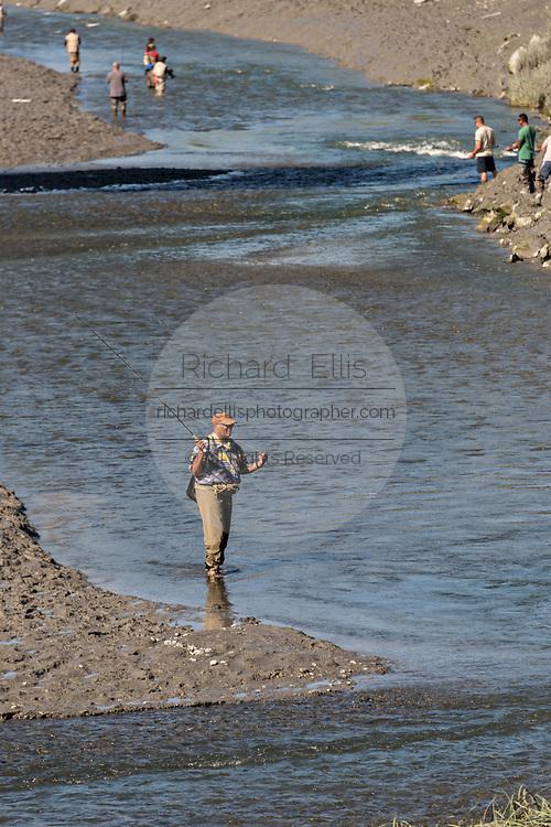 A fishermen catching salmon on Ship Creek in downtown Anchorage, Alaska.
