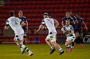 Newcastle Falcons fly-half Brett Connon passes the ball during a Gallagher Premiership Round 12 Rugby Union match, Friday, Mar 05, 2021, in Eccles, United Kingdom. (Steve Flynn/Image of Sport)