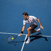 2019 US Open Tennis Tournament- Day Five.  Roger Federer of Switzerland in action against Daniel Evans of Great Britain in the Men's Singles Round Three match on Arthur Ashe Stadium at the 2019 US Open Tennis Tournament at the USTA Billie Jean King National Tennis Center on August 30th, 2019 in Flushing, Queens, New York City.  (Photo by Tim Clayton/Corbis via Getty Images)