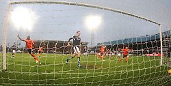 Dundee United's Guy Demel cele their goal.   <br /> Dundee 2 v 1  Dundee United, SPFL Ladbrokes Premiership game played 2/1/2016 at Dens Park.