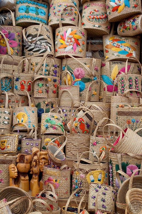 Huge stack of hand bags for sale in Nassau, Bahamas.