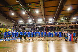 National team of Slovenia during anthem ceremony before friendly handball match between Slovenia and Nederland, on October 25, 2019 in Športna dvorana Hardek, Ormož, Slovenia. Photo by Blaž Weindorfer / Sportida