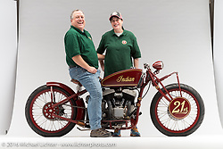 """""""Kiwidinok"""", (The Lady of the Wind) a red board track racer built with an Indian flathead by Kiwi Indian in Columbus, OH. Photographed by Michael Lichter during the Easyriders Bike Show in Riverside, CA on February 21, 2016. ©2016 Michael Lichter."""