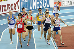 Christian Obrist of Italy, Diego Ruiz of Spain, Wolfram Muller of Germany,  Goran Nava of Serbia and Yoann Kowal of France in the first group in the qualification race at 1500m men at the 2nd day of  European Athletics Indoor Championships Torino 2009 (6th - 8th March), at Oval Lingotto Stadium,  Torino, Italy, on March 6, 2009. (Photo by Vid Ponikvar / Sportida)
