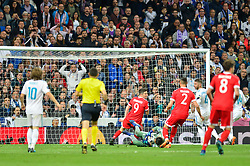 May 2, 2018 - Madrid, Spain - MADRID, SPAIN. May 1, 2018 - Keylor Navas controls the ball. With a 2-2 draw against Bayern Munchen, Real Madrid made it to the UEFA Champions League Final for third time in a row. Kimmich and James scored for the german squad while Karim Benzema did it twice for los blancos. Goalkeeper Keylor Navas had a great night with several decisive interventions. (Credit Image: © VW Pics via ZUMA Wire)