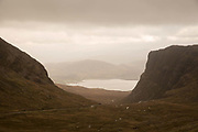 The Bealach na Bà Pass in Wester Ross on the 4th November 2018 on the west coast of Scotland in the United Kingdom. The Bealach na Bà is a winding, single track road through the mountains of the Applecross peninsula, in Wester Ross in the Scottish Highlands.