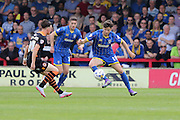 Connor Smith defender for AFC Wimbledon (18) in action during Sky Bet League 2 match between AFC Wimbledon and Newport County at the Cherry Red Records Stadium, Kingston, England on 7 May 2016. Photo by Stuart Butcher.