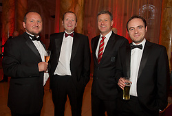 CARDIFF, WALES - Monday, October 5, 2015: FAW's Andrew Howard, Graham Davies, Gwyn Derfel and Owain LLyr during the FAW Awards Dinner at Cardiff City Hall. (Pic by Ian Cook/Propaganda)