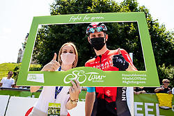 Nusak Gajsek, mayor of city Ptuj and Matej MOHORIC of BAHRAIN VICTORIOUS during 1st Stage of 27th Tour of Slovenia 2021 cycling race between Ptuj and Rogaska Slatina (151,5 km), on June 9, 2021 in Slovenia. Photo by Matic Klansek Velej / Sportida