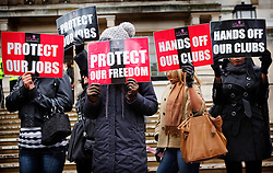 © under license to London News Pictures. Strip club dancers campaign against a proposed ban in Hackney, London, outside the town hall (09/12/10). Photo credit should read:  London News Pictures