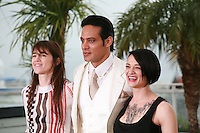 Charlotte Gainsbourg, Gabriel Garko and Asia Argento at the photo call for the film Misunderstood (Incompresa) at the 67th Cannes Film Festival, Thursday 22nd May 2014, Cannes, France.