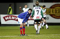 Fotball , 31. oktober 2010 ,  Tippeligaen , Eliteserien<br /> Hønefoss -Vålerenga 3-1<br /> <br /> Mustafa Abdellaoue , Mos , VIF depper etter Hønefoss-scoring