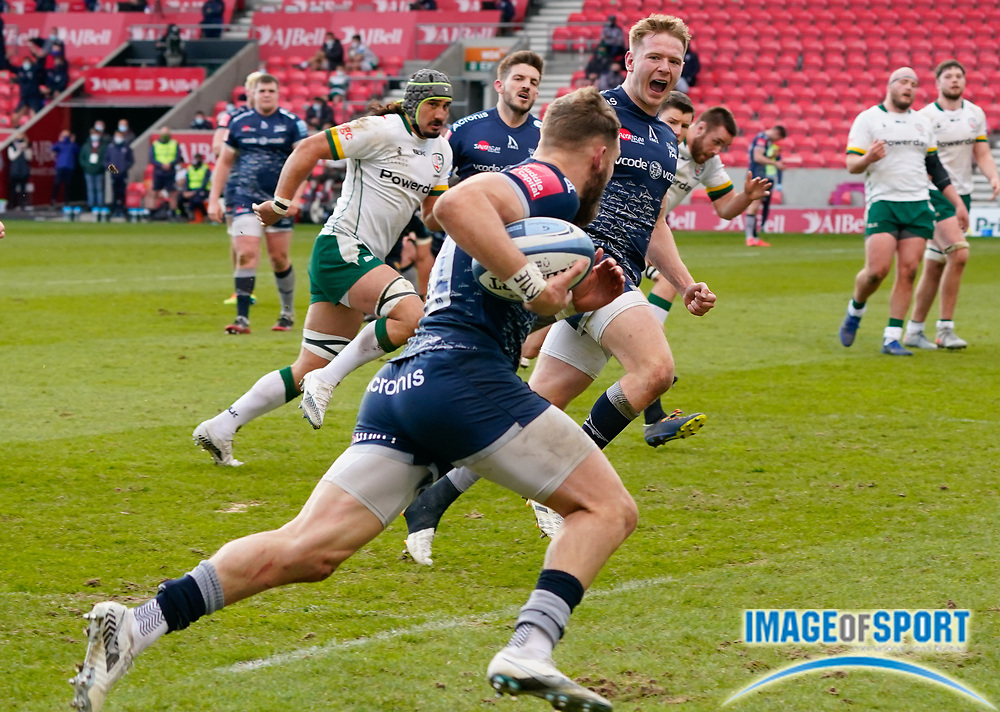Sale Sharks centre Conor Doherty celebrates as Sale Sharks wing Byron McGuigan crosses for a try during a Gallagher Premiership Round 14 Rugby Union match, Sunday, Mar 21, 2021, in Eccles, United Kingdom. (Steve Flynn/Image of Sport)