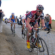 Gruson - Sunday, Apr 13 2008:  SILENCE - LOTTO rider Leif HOSTE leads the chasing group on the pavé section towards Gruson. Images from the 106th edition of the Paris Roubaix (1.HC) cycle race. Starting in Compiègne, north of Paris, the race finishes 259.5 km later in Roubaix. This year's edition includes 52.8 km on the famous pavé. (Photo by Peter Horrell / http://www.peterhorrell.com)