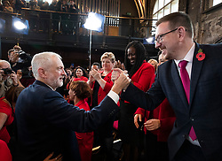 © Licensed to London News Pictures. 31/10/2019. London, UK. Labour Party Leader Jeremy Corbyn greets shadow cabinet member Andrew Gwynne as Battersea MP Marsha de Cordova (2R) and Shadow Foreign Secretary Emily Thornberry look on after speaking to supporters at Battersea Arts Centre during an election campaign rally. Photo credit: Peter Macdiarmid/LNP