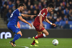 Leicester City's Aleksandar Dragovic (left) and Liverpool's Dominic Solanke battle for the ball