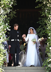 Meghan Markle and Prince Harry on the steps of St George's Chapel at Windsor Castle following their wedding.