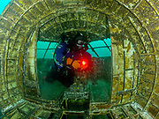 KISS Spirit rebreather diver inside the Aircraft Challenger 600 at Dutch Springs, Scuba Diving Resort in Pennsylvania