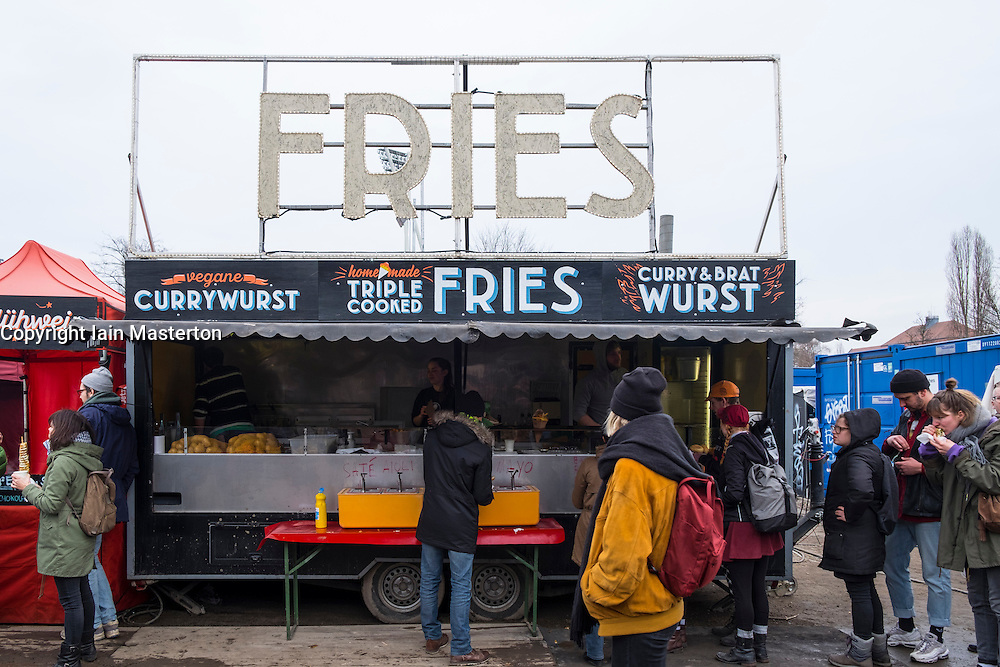 Food stall at Sunday market at Mauer Park in Prenzlauer Berg in Berlin, Germany