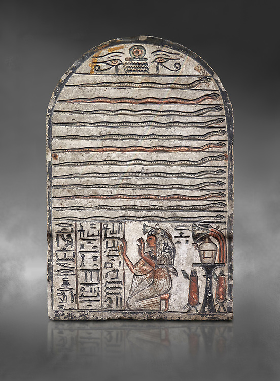 """Ancient Egyptian stele dedicated to Meretsesger, limestone, New Kingdom, 19th Dynasty, (1279-1213 BC), Deir el-Medina, Egyptian Museum, Turin. Grey background.<br /> <br /> The stele is divided into 3 registers. In the top section 2 wedjat eyes with shen sign above 3 zigzag lines indicating water are depicted. The second, largest register, is divided into 12 horizontal strips. Each is occupied by a coloured snake facing to the right.In the bottom register 3 columns of hieroglyphic text worship the goddess Meretseger: """"life, strength and health to the ka and the lady of the house Wab, the justified."""" To the right of the text the deceased woman is kneeling with her hands raised in adoration. She  wears a white robe. A lotus flower is placed on top of her wig. Behind her head there are 4 hieroglyphic signs that form the phrase """"at peace"""". To the right of the scene there is an offering table with a vessel flanked by a bunch of lotus flowers. Below the table there are 2 vessels on pedestals. .<br /> <br /> If you prefer to buy from our ALAMY PHOTO LIBRARY  Collection visit : https://www.alamy.com/portfolio/paul-williams-funkystock/ancient-egyptian-art-artefacts.html  . Type -   Turin   - into the LOWER SEARCH WITHIN GALLERY box. Refine search by adding background colour, subject etc<br /> <br /> Visit our ANCIENT WORLD PHOTO COLLECTIONS for more photos to download or buy as wall art prints https://funkystock.photoshelter.com/gallery-collection/Ancient-World-Art-Antiquities-Historic-Sites-Pictures-Images-of/C00006u26yqSkDOM"""