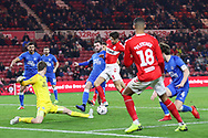 Middlesbrough defender George Friend (3) gets ahead of Peterborough United defender Jason Naismith (2) to score Middlesbrough's second goal during The FA Cup 3rd round match between Middlesbrough and Peterborough United at the Riverside Stadium, Middlesbrough, England on 5 January 2019.