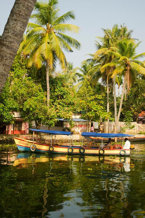 A boat on Kerala Backwaters, near Alleppey, Kerala, South India
