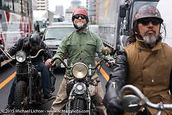 """The Race of Gentlemen's Mel Stultz and """"Sushi"""" Atsushi Yasui on a ride around Tokyo with friends of the Freewheelers And Company shop, Japan. December 8, 2015.  Photography ©2015 Michael Lichter."""