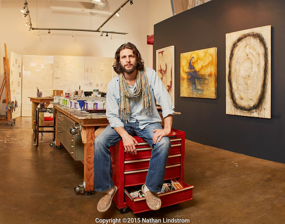 Artist Justin Garcia is photographed Monday afternoon April 27, 2015 at his studio in Houston, TX.<br />