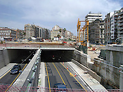 Spanje, Barcelona, 27-5-2007..Werkzaamheden voor de bouw van een nieuwe metrolijn, metrostation...Foto: Flip Franssen