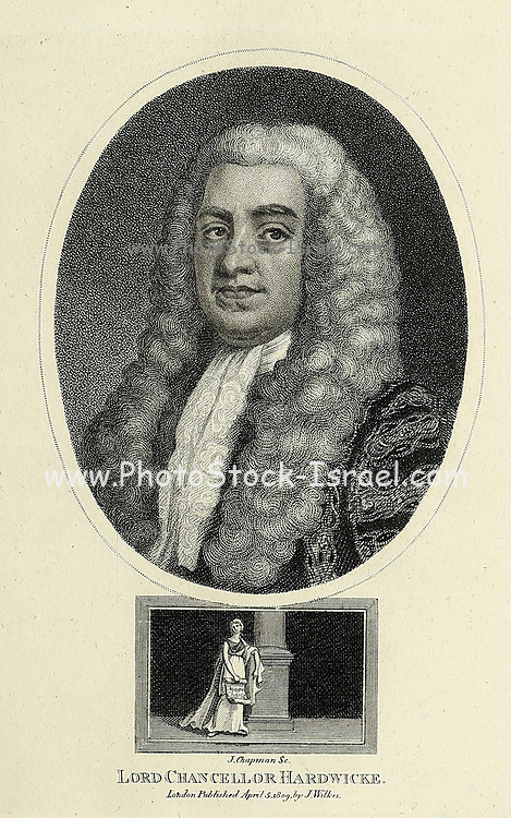 Philip Yorke, 1st Earl of Hardwicke, PC (1 December 1690 – 6 March 1764) was an English lawyer and politician who served as Lord High Chancellor of Great Britain. He was a close confidant of the Duke of Newcastle, Prime Minister between 1754 and 1756 and 1757 until 1762. Copperplate engraving From the Encyclopaedia Londinensis or, Universal dictionary of arts, sciences, and literature; Volume IX;  Edited by Wilkes, John. Published in London in 1811