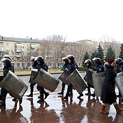 DONETSK, UKRAINE - March 19, 2014: Ukrainian police take guard at the regional parliament building in Donetsk, days after pro-Russia protestor attempted to storm and take control of the building. CREDIT: Paulo Nunes dos Santos