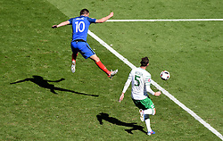 Andre-Pierre Gignac of France fires wide  - Mandatory by-line: Joe Meredith/JMP - 26/06/2016 - FOOTBALL - Stade de Lyon - Lyon, France - France v Republic of Ireland - UEFA European Championship Round of 16