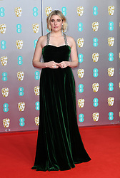 Greta Gerwig attending the 73rd British Academy Film Awards held at the Royal Albert Hall, London. Photo credit should read: Doug Peters/EMPICS Entertainment