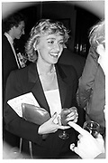 TINA BROWN, BOOK PARTY. LEIGHTON HOUSE. London, 1983.  SUPPLIED FOR ONE-TIME USE ONLY> DO NOT ARCHIVE. © Copyright Photograph by Dafydd Jones 248 Clapham Rd.  London SW90PZ Tel 020 7820 0771 www.dafjones.com