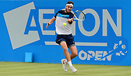 Cameron Norrie (GBR) in action during his ATP match against Kenny Schepper (FRA). The Aegon Open Nottingham 2017, international tennis tournament at the Nottingham tennis centre in Nottingham, Notts , day 2 on Tuesday 13th June 2017.<br /> pic by Bradley Collyer, Andrew Orchard sports photography.