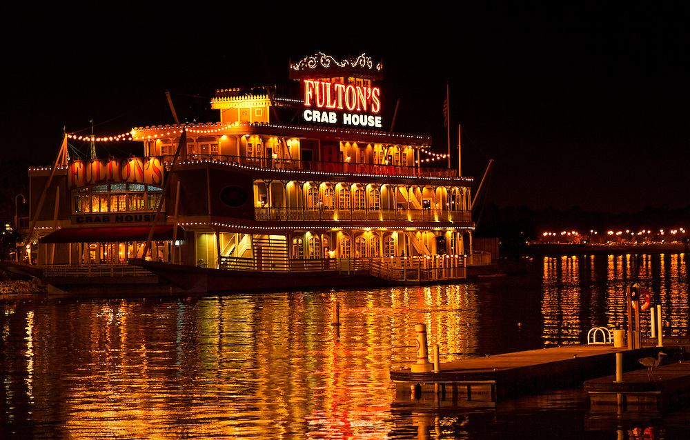 My very first attempt at photographing landscapes during the evening.<br /> <br /> Fulton's Crab House is located in Downtown Disney. I took this photograph last night during our first official day of vacation in Florida.