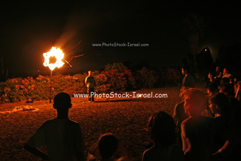 Fire display, a burning Star of David