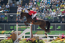 Duguet Romain, SUI, Quorida de Treho<br /> owner of the horse of Jerome with arms in the air<br /> Olympic Games Rio 2016<br /> © Hippo Foto - Dirk Caremans<br /> 14/08/16