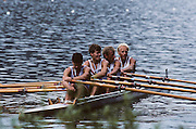 Lucerne, SWITZERLAND   NOR M4X, Lars BJOENNESS , Per SAETERSDAL , Rolf THORSEN , Kjetil UNDSET 1992 FISA World Cup Regatta, Lucerne. Lake Rotsee.  [Mandatory Credit: Peter Spurrier: Intersport Images] 1992 Lucerne International Regatta and World Cup, Switzerland