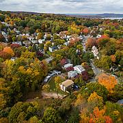 Aerial Fall Foliage Hastings on Hudson