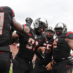 Oct 6, 2012: Rutgers Scarlet Knights wide receiver Mark Harrison (81) celebrates his touchdown during second half NCAA college football action between the Rutgers Scarlet Knights and UConn Huskies at High Point Solutions Stadium in Piscataway, N.J.