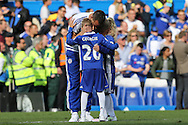 John Terry, the Chelsea captain hugs his son children during a walk around the pitch after full time. Barclays Premier league match, Chelsea v Leicester city at Stamford Bridge in London on Sunday 15th May 2016.<br /> pic by John Patrick Fletcher, Andrew Orchard sports photography.