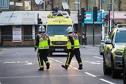 "Finsbury Park, London, June 19th 2017. A major police and emergency services operation with firearms officers in attendance is underway near Finsbury Park Mosque following reports of Several people being injured after a van struck a crowd of pedestrians near a north London mosque in what police have called a ""major incident"". PICTURED: Firefighters and ambulances along withy the police are at the scene."