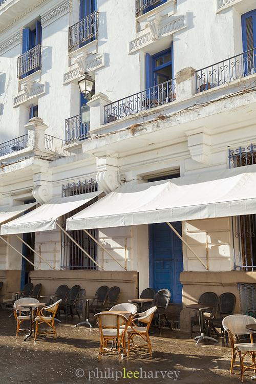 Tables outside bar in Casablanca, Morocco
