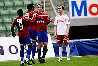 Fotball<br /> NM 2. runde<br /> Bislett  Stadion 20.05.10<br /> Skeid - Fredrikstad FFK<br /> Kim Nysted feirer sitt mål , Agim Shabani fortviler<br /> Foto: Eirik Førde