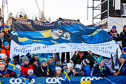 March 16, 2019 - Falun, SWEDEN - 190316 Fans of Stina Nilsson after  the Women's cross-country skiing sprint final during the FIS Cross-Country World Cup on march 16, 2019 in Falun  (Credit Image: © Daniel Eriksson/Bildbyran via ZUMA Press)