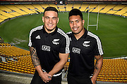 All Blacks Sevens players Sonny Bill Williams (L) and Ardie Savea during the All Blacks Sevens squad announcement at the Westpac Stadium in Wellington on Wednesday the 19th of August 2015. Copyright photo by Marty Melville / www.Photosport.nz