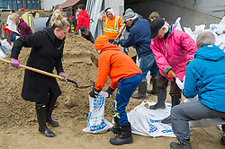 Volunteers fill sandbags in the town of Hudson, Quebec, Canada., west of Montreal, Monday, May 8, 2017, following flooding in the region. Photo by Graham Hughes /The Canadian Press/ABACAPRESS.COM