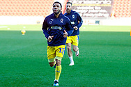 Wimbledon midfielder Andy Barcham (17) warming up  during the EFL Sky Bet League 1 match between Doncaster Rovers and AFC Wimbledon at the Keepmoat Stadium, Doncaster, England on 17 November 2018.